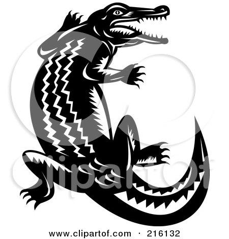 Royalty-Free (RF) Clipart Illustration of a Retro Black And White Crocodile by patrimonio
