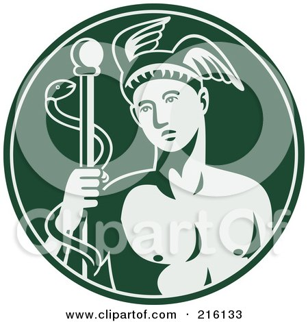 Royalty-Free (RF) Clipart Illustration of a Green Logo Of Hermes With A Caduceus Of Snakes by patrimonio