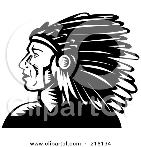 Royalty-Free (RF) Clipart Illustration of a Black And White Retro Native American Chief Profile by patrimonio
