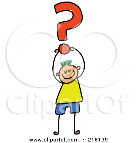 Royalty-Free (RF) Clipart Illustration of a Childs Sketch Of A Boy Holding Up A Question Mark by Prawny