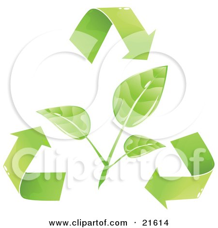 Clipart Illustration Graphic of a Green Plant Leaves Being Circled By Recycling Arrows, Over A White Background by Tonis Pan