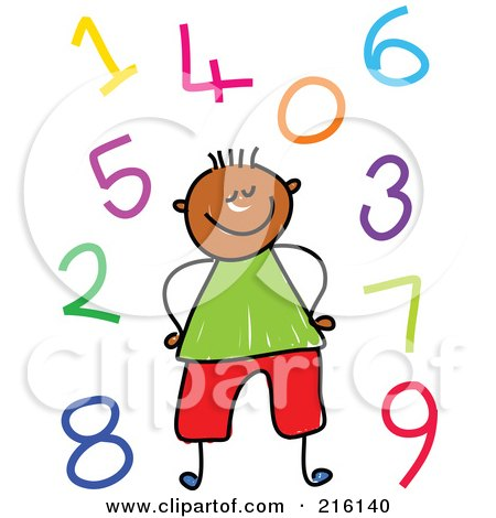 Royalty-Free (RF) Clipart Illustration of a Childs Sketch Of A Boy Surrounded By Colorful Numbers by Prawny