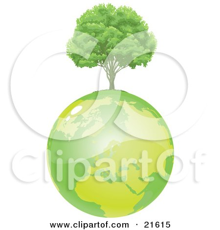Clipart Illustration Graphic of a Healthy And Full Green Tree Growing On Top Of Green Planet Earth by Tonis Pan