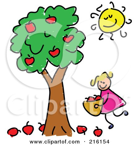 Royalty-Free (RF) Clipart Illustration of a Childs Sketch Of A Girl Picking Apples by Prawny