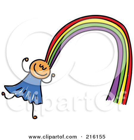 Royalty-Free (RF) Clipart Illustration of a Childs Sketch Of A Girl With Rainbow Hair by Prawny