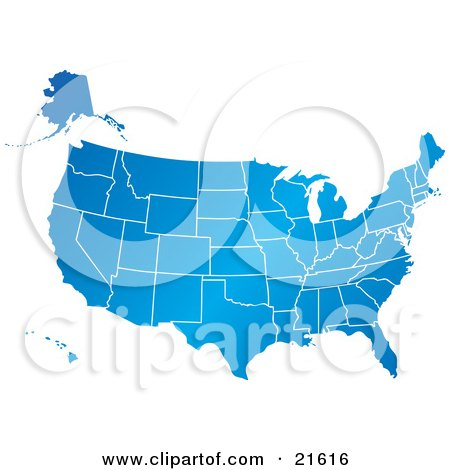 Clipart Illustration Graphic of a Gradient Blue United States Of America Map With All Of The States, On A White Background by Tonis Pan