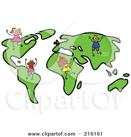 Royalty free rf clipart illustration of a childs sketch of kids on royalty free rf clipart illustration of a childs sketch of kids on a world map by prawny gumiabroncs Image collections