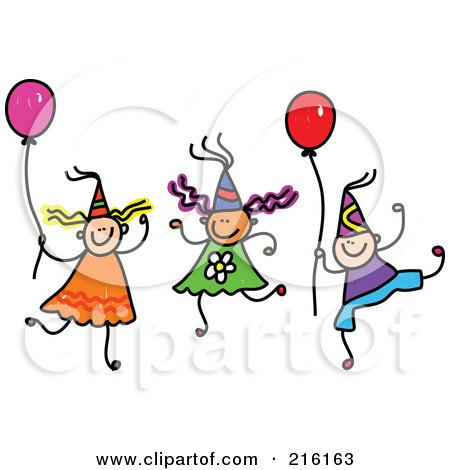 Royalty-Free (RF) Clipart Illustration of a Childs Sketch Of Children Wearing Party Hats And Holding Balloons by Prawny