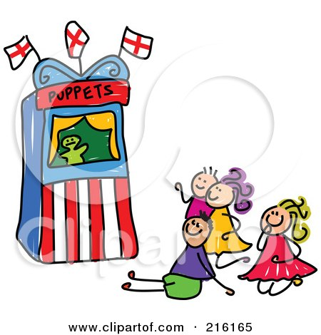 Royalty-Free (RF) Clipart Illustration of a Childs Sketch Of Kids Watching A Puppet Show by Prawny