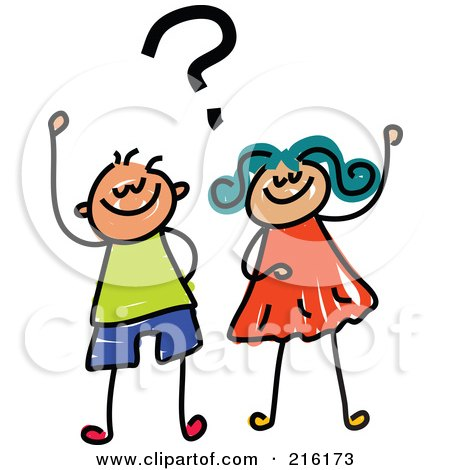 Royalty-Free (RF) Clipart Illustration of a Childs Sketch Of A Boy And Girl With A Question by Prawny