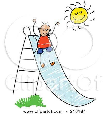 Royalty-Free (RF) Clipart Illustration of a Childs Sketch Of A Boy Going Down A Slide by Prawny