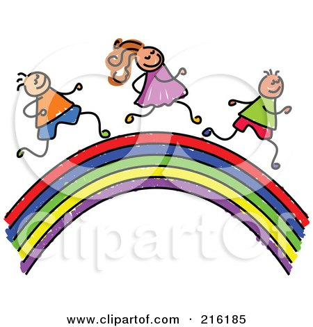 Royalty-Free (RF) Clipart Illustration of a Hilds Sketch Of Children Running On A Rainbow by Prawny