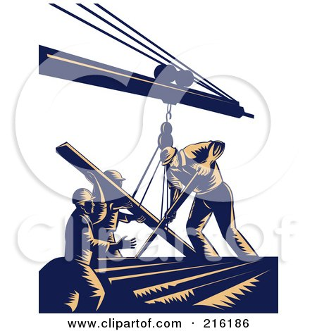 Royalty-Free (RF) Clipart Illustration of a Team Of Construction Workers Using A Boom To Lift Lumber by patrimonio