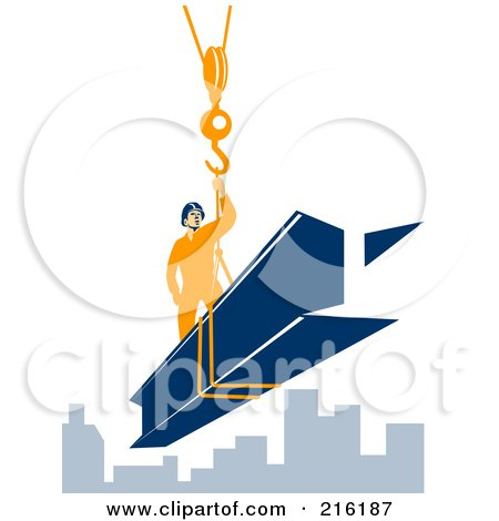 Royalty-Free (RF) Clipart Illustration of a Construction Worker Riding On A Beam by patrimonio