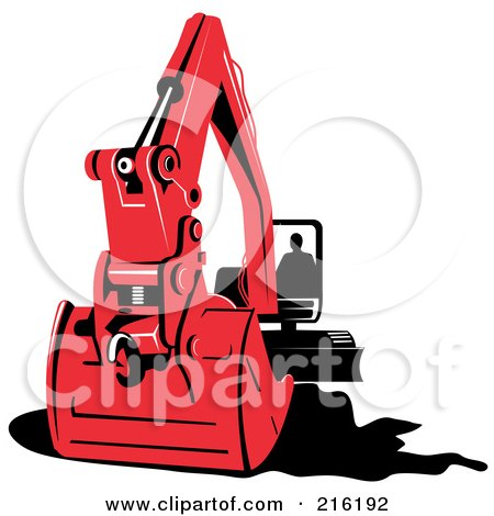 Royalty-Free (RF) Clipart Illustration of a Person Operating A Red Excavator by patrimonio