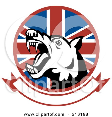 Royalty-Free (RF) Clipart Illustration of an Aggressive Dog Over A British Flag And Blank Banner by patrimonio