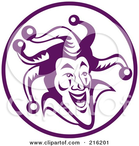 Royalty-Free (RF) Clipart Illustration of a Purple Jester Face Logo by patrimonio