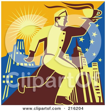 Royalty-Free (RF) Clipart Illustration of a Retro Waitor Running To Deliver Coffee - 2 by patrimonio