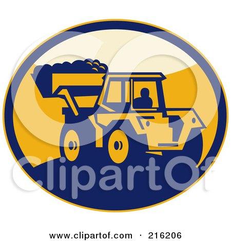 Retro Mechanical Digger Logo Posters, Art Prints