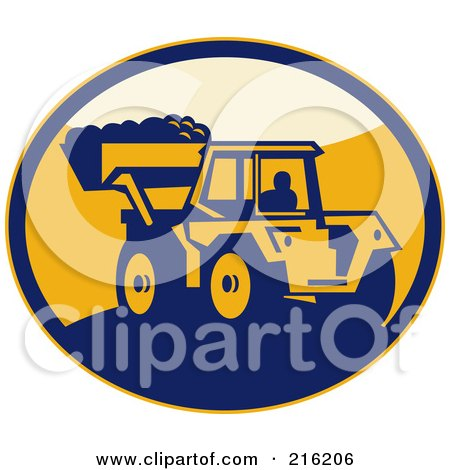 Royalty-Free (RF) Clipart Illustration of a Retro Mechanical Digger Logo by patrimonio