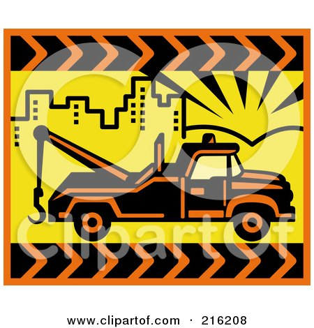 Royalty-Free (RF) Clipart Illustration of a Retro Tow Truck In A Yellow City by patrimonio