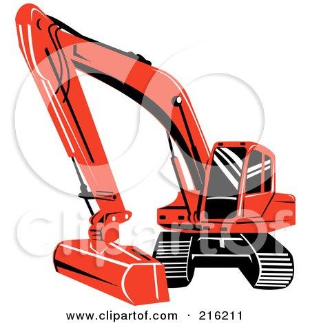 Royalty-Free (RF) Clipart Illustration of a Reddish Orange Excavator Machine by patrimonio