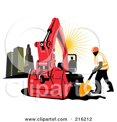 Royalty-Free (RF) Clipart Illustration of a Construction Worker Digging By An Excavator by patrimonio