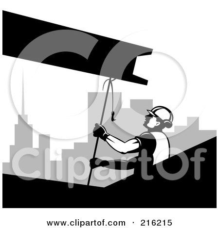 Royalty-Free (RF) Clipart Illustration of a Grayscale Construction Worker Hoisting A Beam by patrimonio
