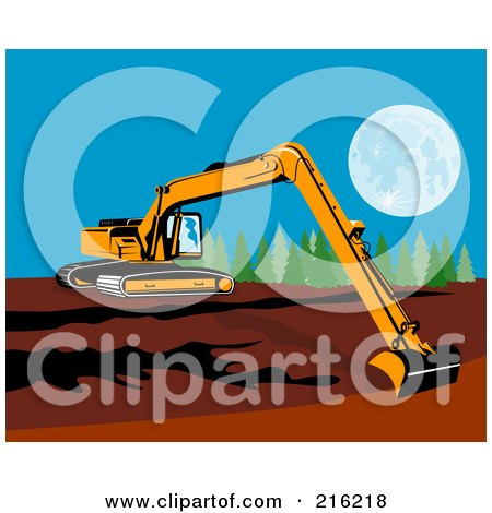 Royalty-Free (RF) Clipart Illustration of a Yellow Excavator Reaching by patrimonio
