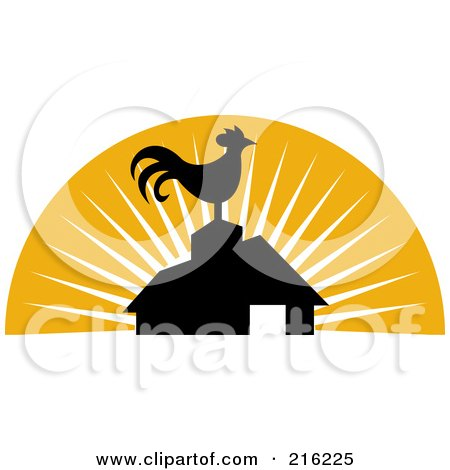 Royalty-Free (RF) Clipart Illustration of a Retro Rooster Atop A Barn by patrimonio