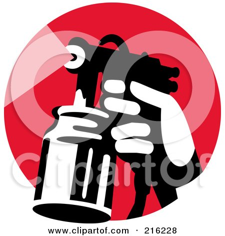Royalty-Free (RF) Clipart Illustration of a Retro Hand Using A Spray Container On A Red Circle by patrimonio