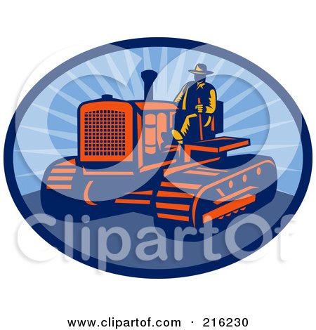 Royalty-Free (RF) Clipart Illustration of a Retro Farmer Driving A Tractor by patrimonio