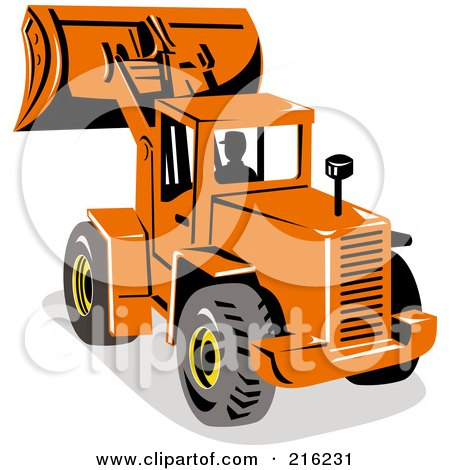 Royalty-Free (RF) Clipart Illustration of a Person Operating An Orange Excavator by patrimonio