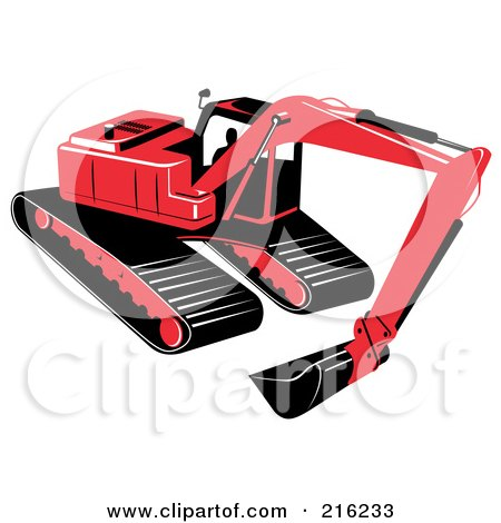 Royalty-Free (RF) Clipart Illustration of a Red Excavator Machine by patrimonio