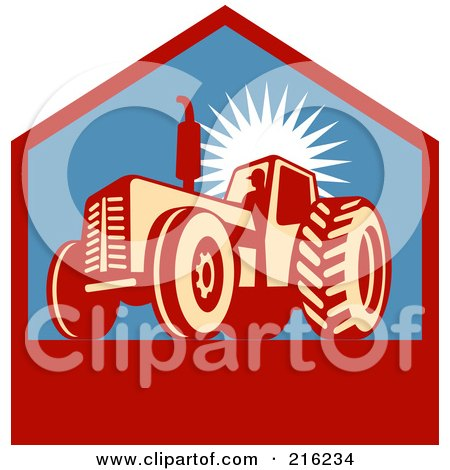 Royalty-Free (RF) Clipart Illustration of a Retro Tractor Logo by patrimonio