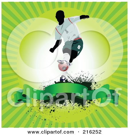 Royalty-Free (RF) Clipart Illustration of a Soccer Player Above A Blank Banner On A Grungy Green Ray Background by leonid