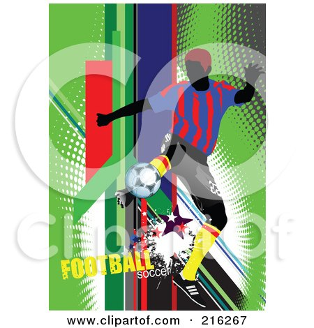 Royalty-Free (RF) Clipart Illustration of a Soccer Player On A Grungy Green Halftone Background With Football Soccer Text - 1 by leonid