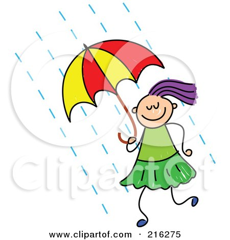 Royalty-Free (RF) Clipart Illustration of a Childs Sketch Of A Girl Using An Umbrella by Prawny
