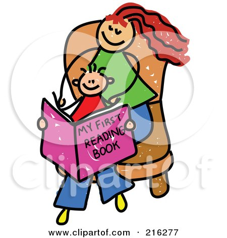 Royalty-Free (RF) Clipart Illustration of a Childs Sketch Of A Mom And Son Reading A Book by Prawny