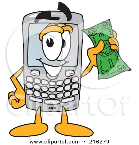 Royalty-Free (RF) Clipart Illustration of a Modern Smart Phone Character Holding A Bank Note by Toons4Biz