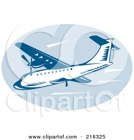 Royalty-Free (RF) Clipart Illustration of a Retro Blue Airliner Logo by patrimonio