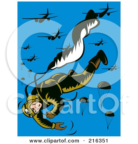 Royalty-Free (RF) Clipart Illustration of a Paratrooper Falling And Releasing His Parachute by patrimonio