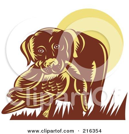 Royalty-Free (RF) Clipart Illustration of a Retro Dog Retrieving A Duck by patrimonio