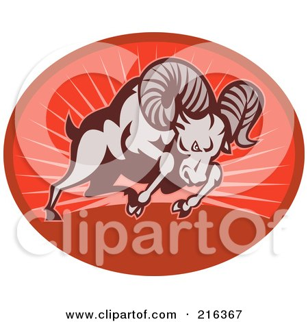 Royalty-Free (RF) Clipart Illustration of a Charging Ram On A Red Oval by patrimonio