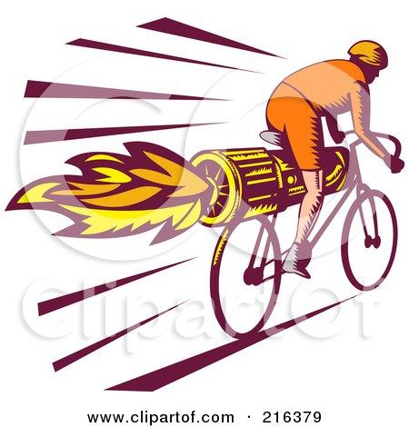 Royalty-Free (RF) Clipart Illustration of a Retro Cyclist Riding A Rocket Bike by patrimonio