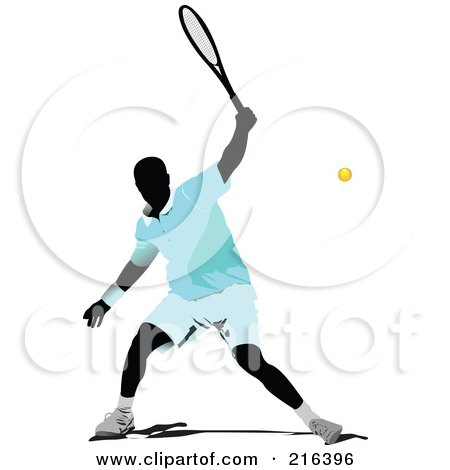 Royalty-Free (RF) Clipart Illustration of a Male Tennis Athlete In Action - 3 by leonid
