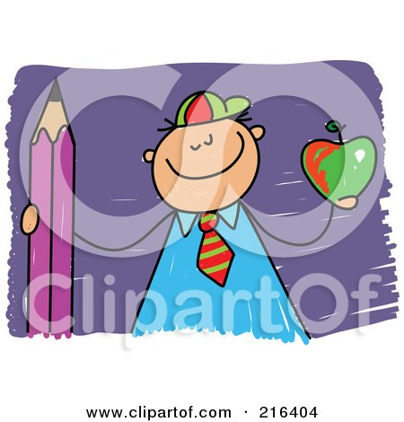 Royalty-Free (RF) Clipart Illustration of a Childs Sketch Of A School Boy Holding An Apple And Pencil by Prawny