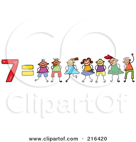 Royalty-Free (RF) Clipart Illustration of a Childs Sketch Of 7 Equals Seven Kids by Prawny