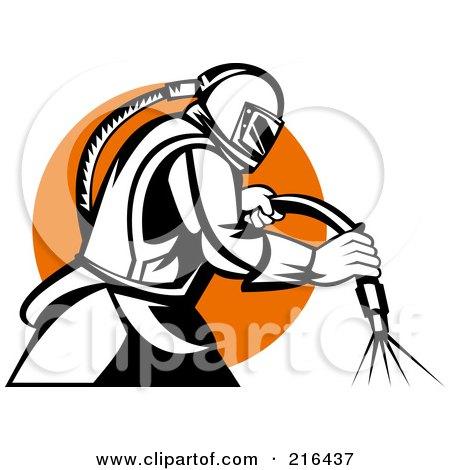 Royalty-Free (RF) Clipart Illustration of a Retro Sandblaster Logo - 1 by patrimonio