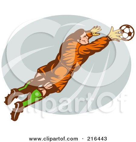 Royalty-Free (RF) Clipart of Soccer Goalies, Illustrations, Vector Graphics #1